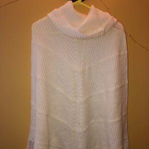 turtleneck white sweater poncho
